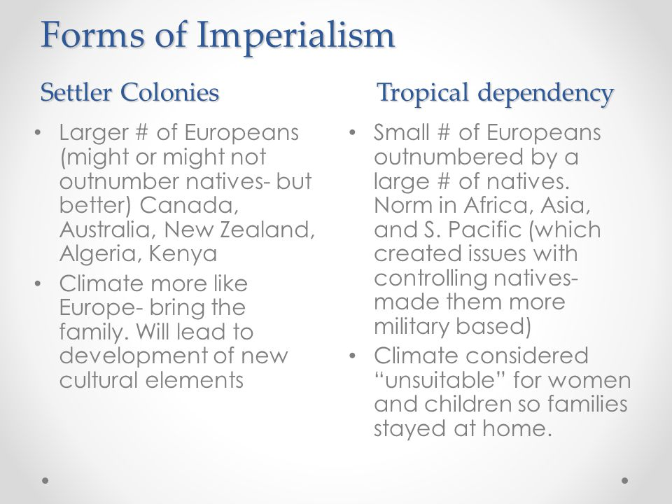Forms of Imperialism Settler Colonies Tropical dependency