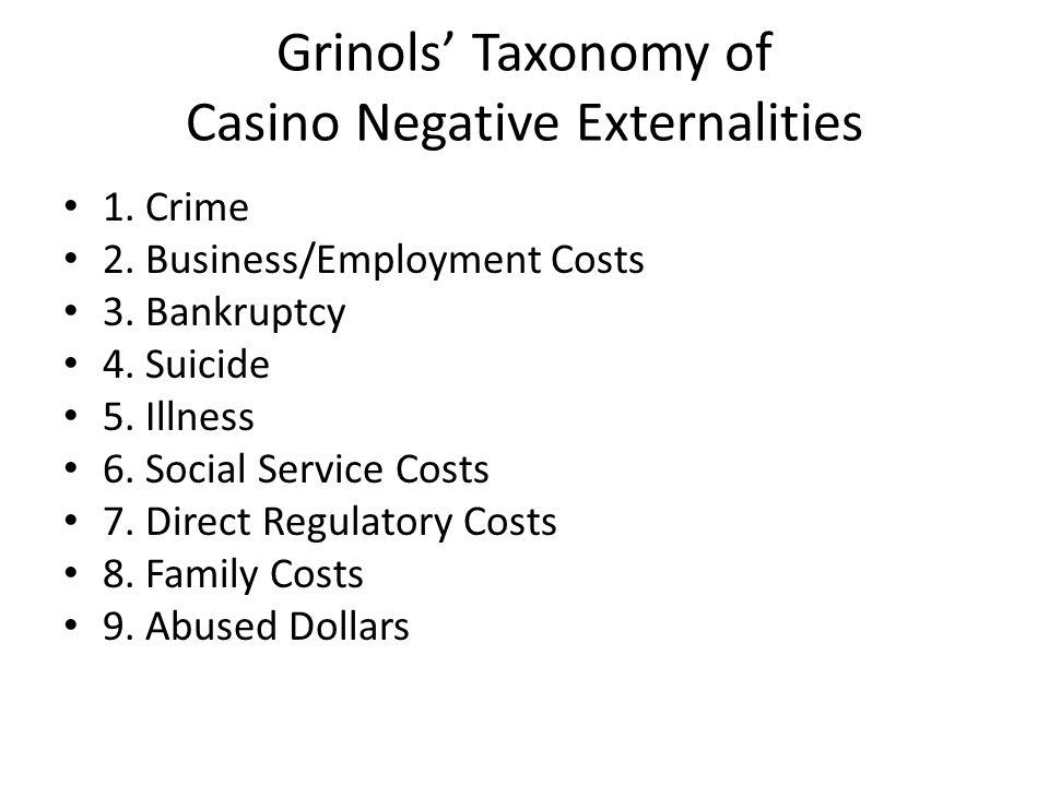 Grinols' Taxonomy of Casino Negative Externalities