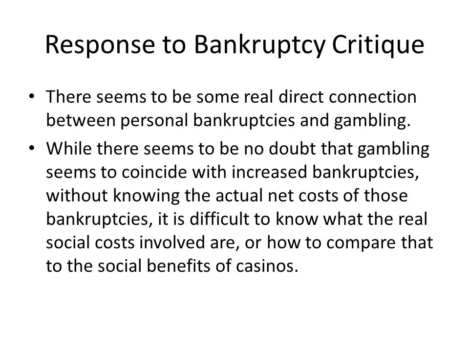 Response to Bankruptcy Critique