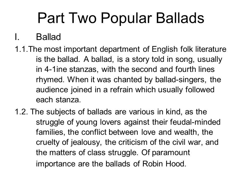 Part Two Popular Ballads