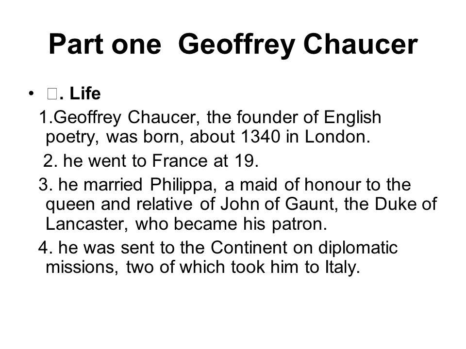 Part one Geoffrey Chaucer