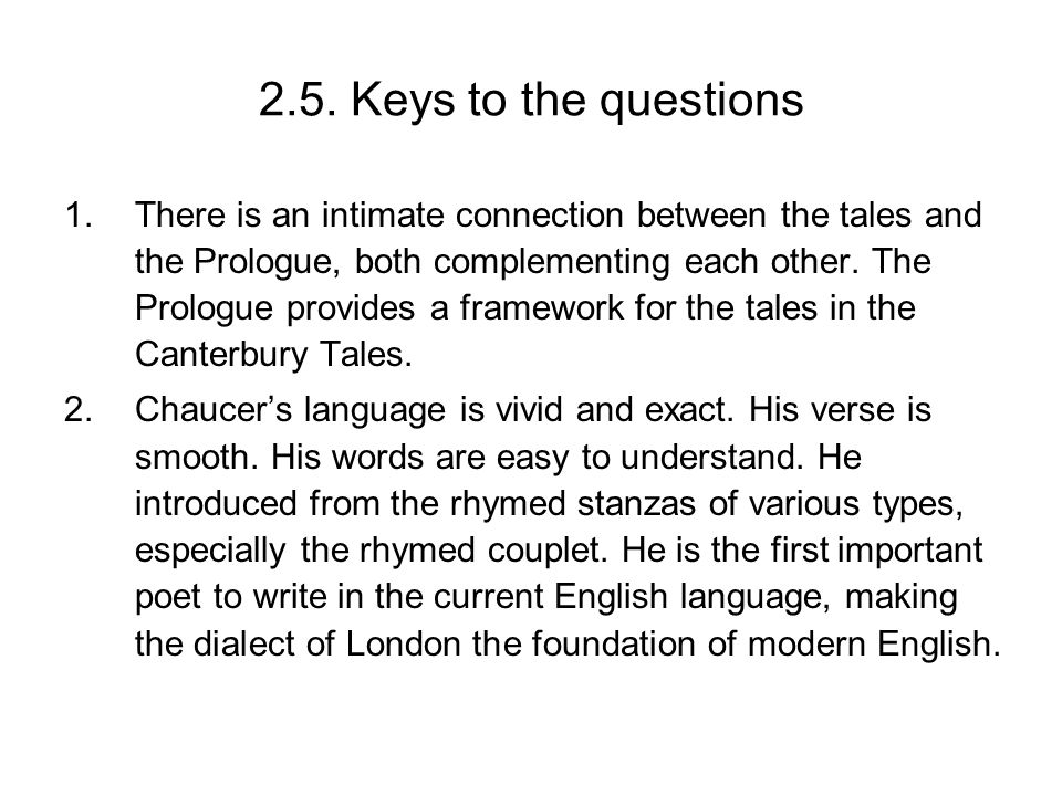 2.5. Keys to the questions