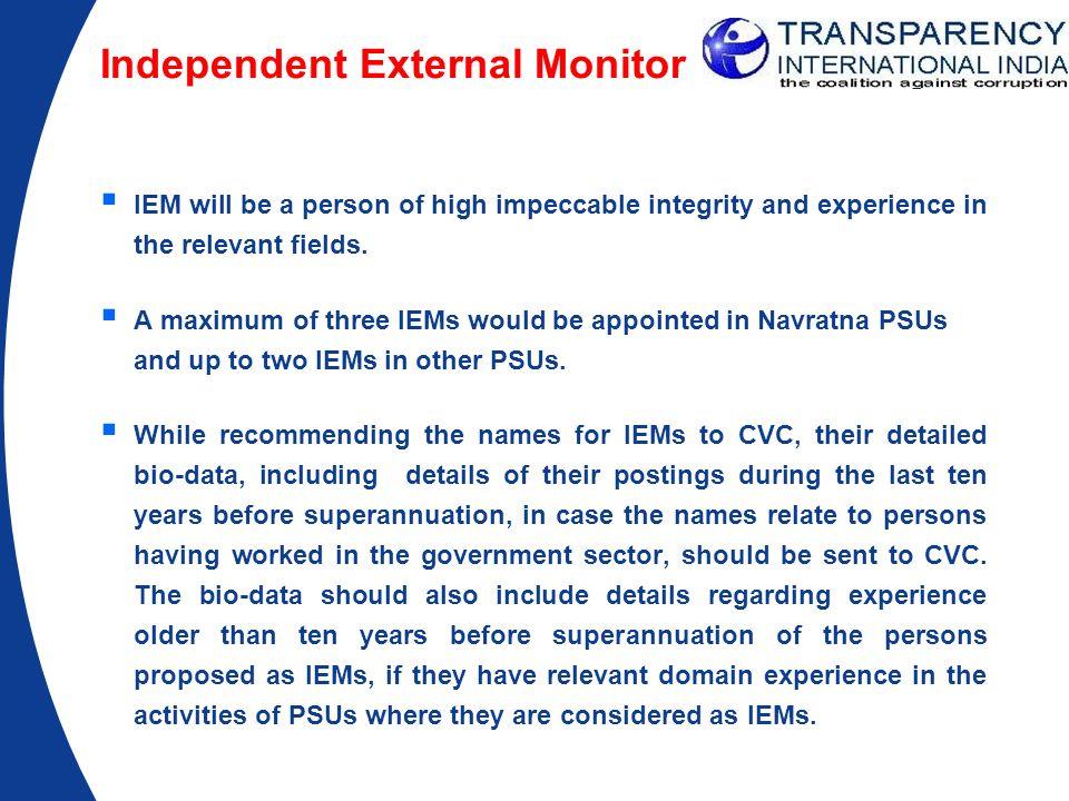 Independent External Monitor