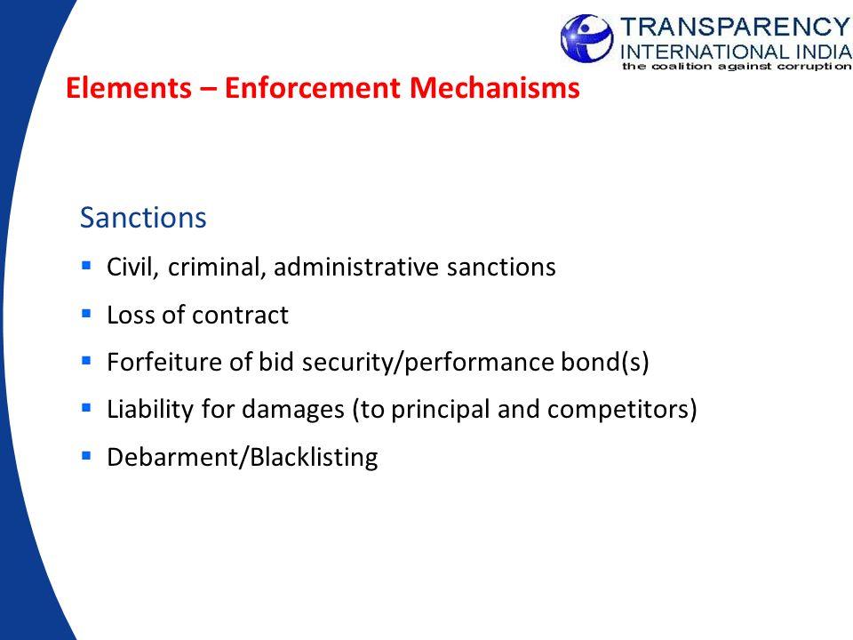 Elements – Enforcement Mechanisms