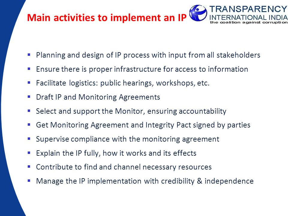 Main activities to implement an IP
