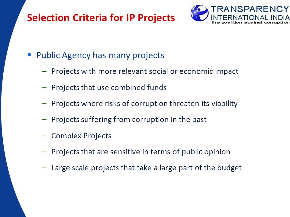 Selection Criteria for IP Projects