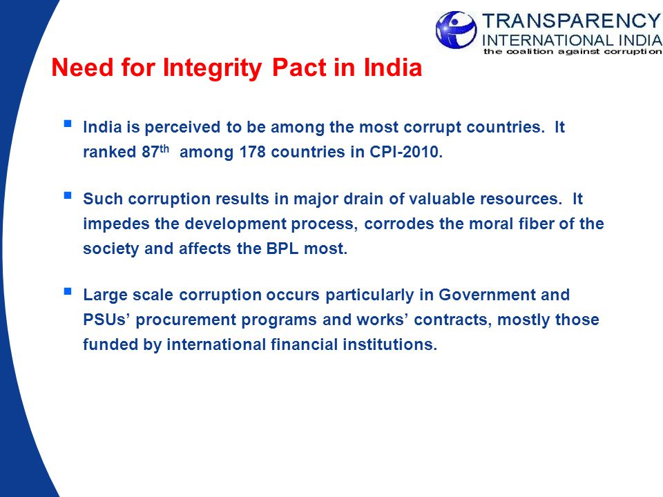Need for Integrity Pact in India