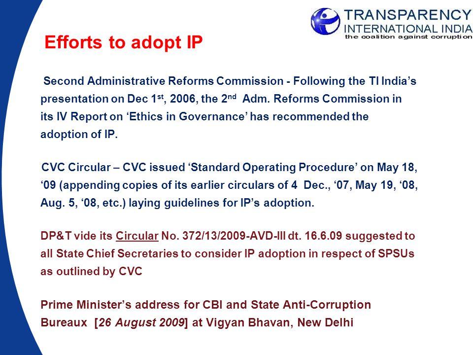 Efforts to adopt IP