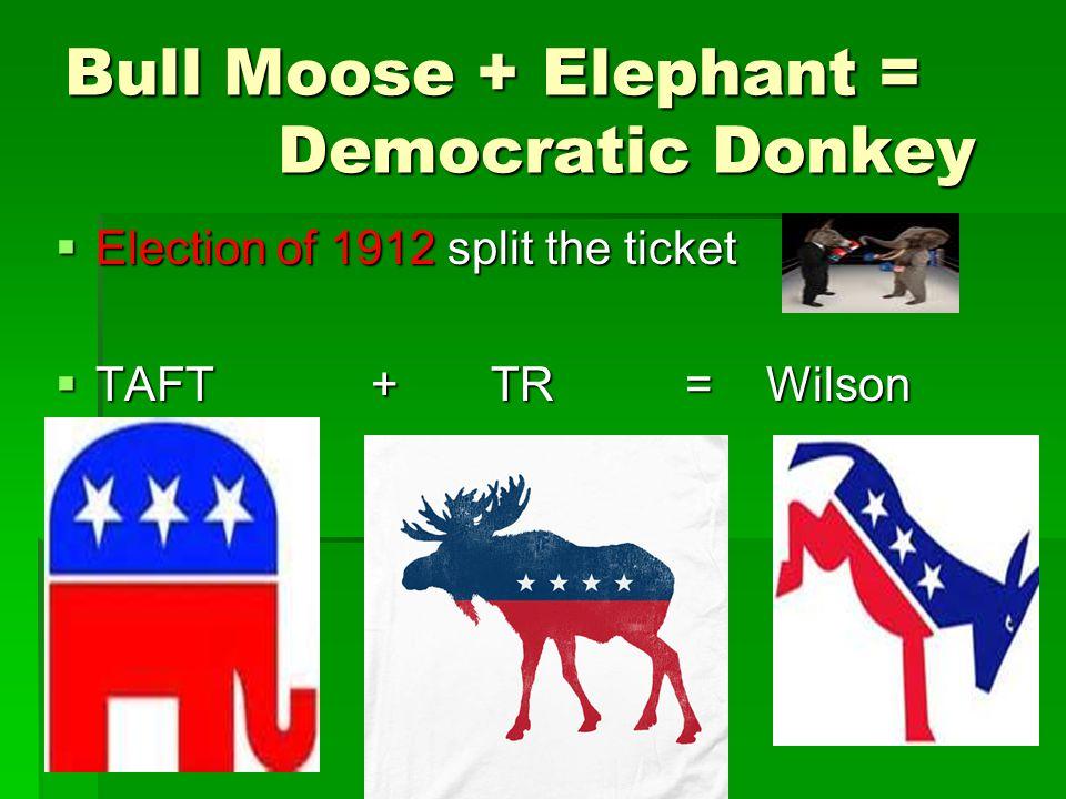 Bull Moose + Elephant = Democratic Donkey