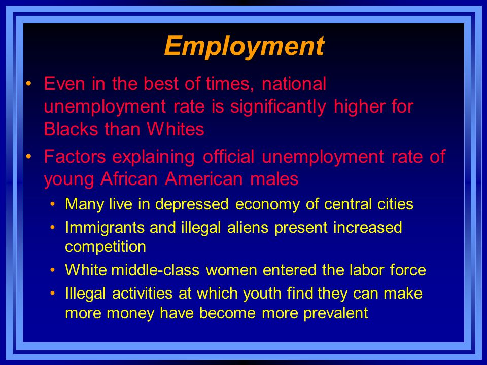 Employment Even in the best of times, national unemployment rate is significantly higher for Blacks than Whites.