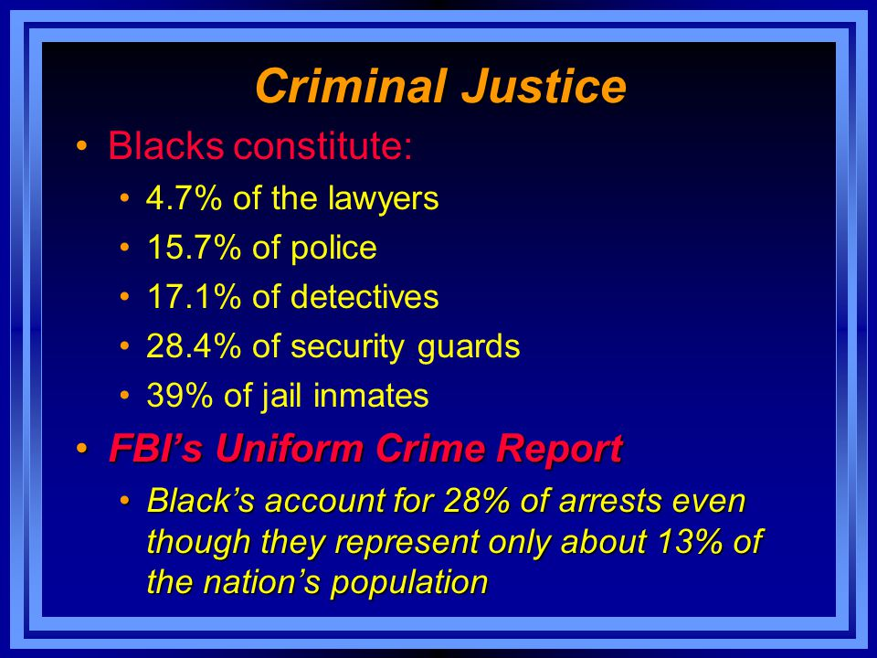 Criminal Justice Blacks constitute: FBI's Uniform Crime Report