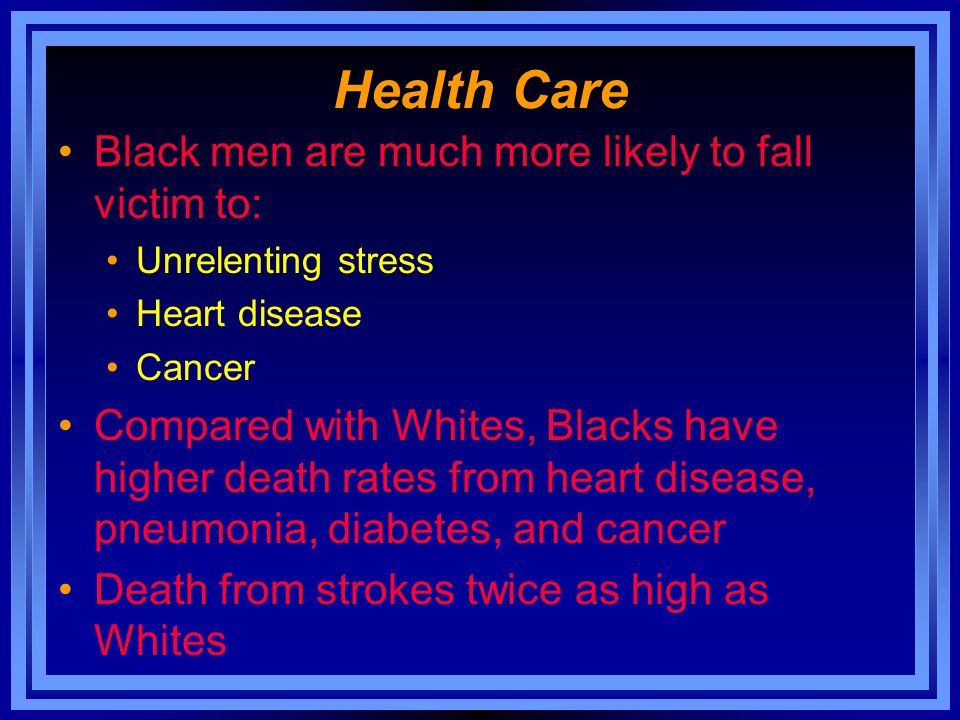 Health Care Black men are much more likely to fall victim to: