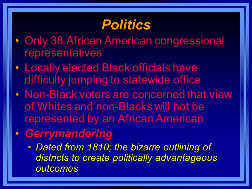 Politics Only 38 African American congressional representatives