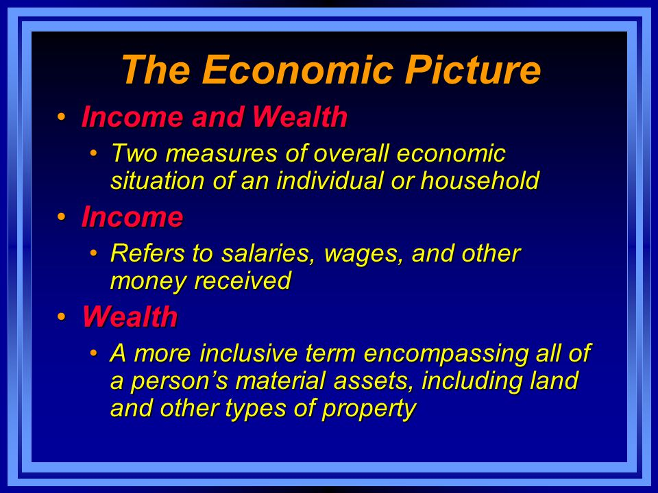 The Economic Picture Income and Wealth Income Wealth