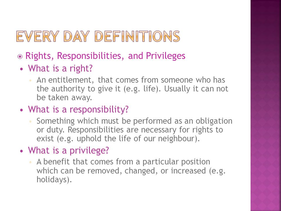 Every Day Definitions Rights, Responsibilities, and Privileges