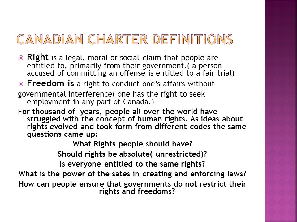 Canadian Charter Definitions