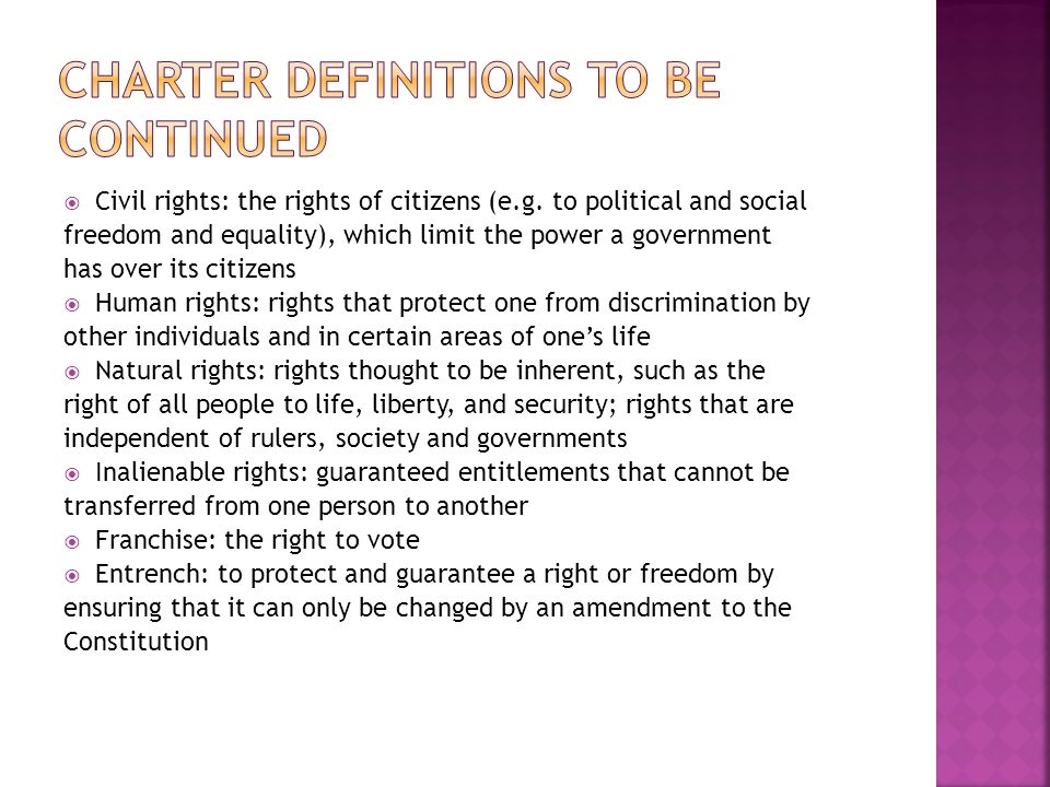 Charter Definitions to be continued