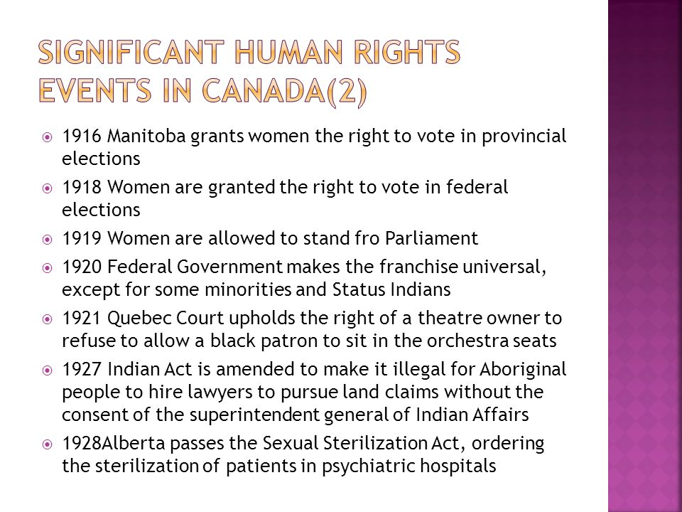 Significant human Rights Events in Canada(2)
