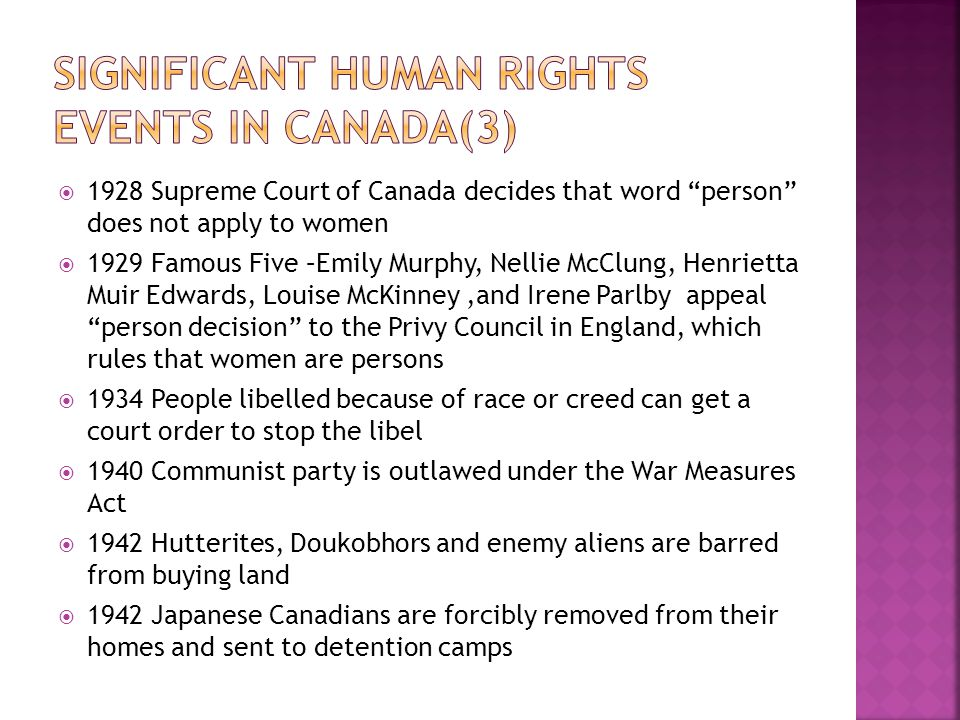 Significant human Rights Events in Canada(3)