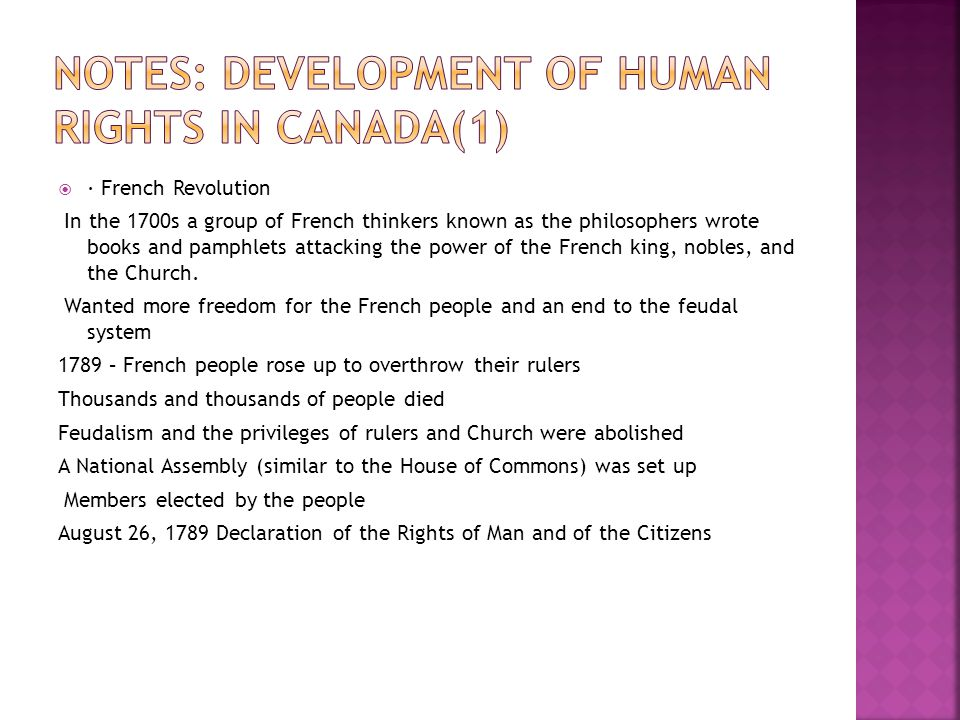 Notes: Development of Human Rights in Canada(1)