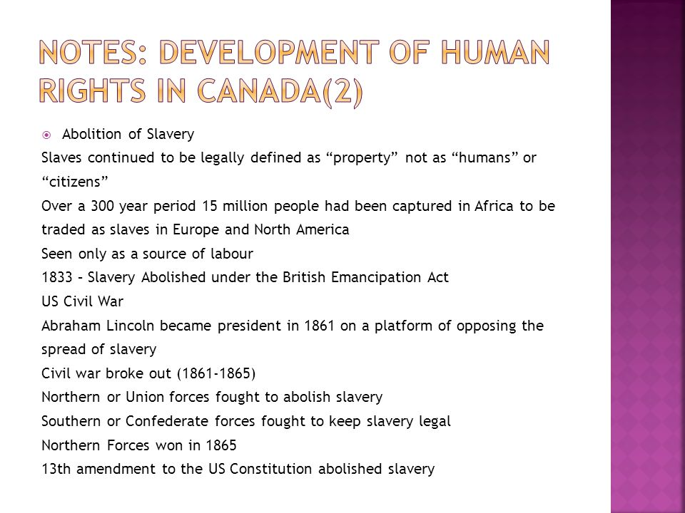 Notes: Development of Human Rights in Canada(2)