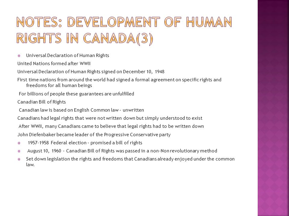 Notes: Development of Human Rights in Canada(3)