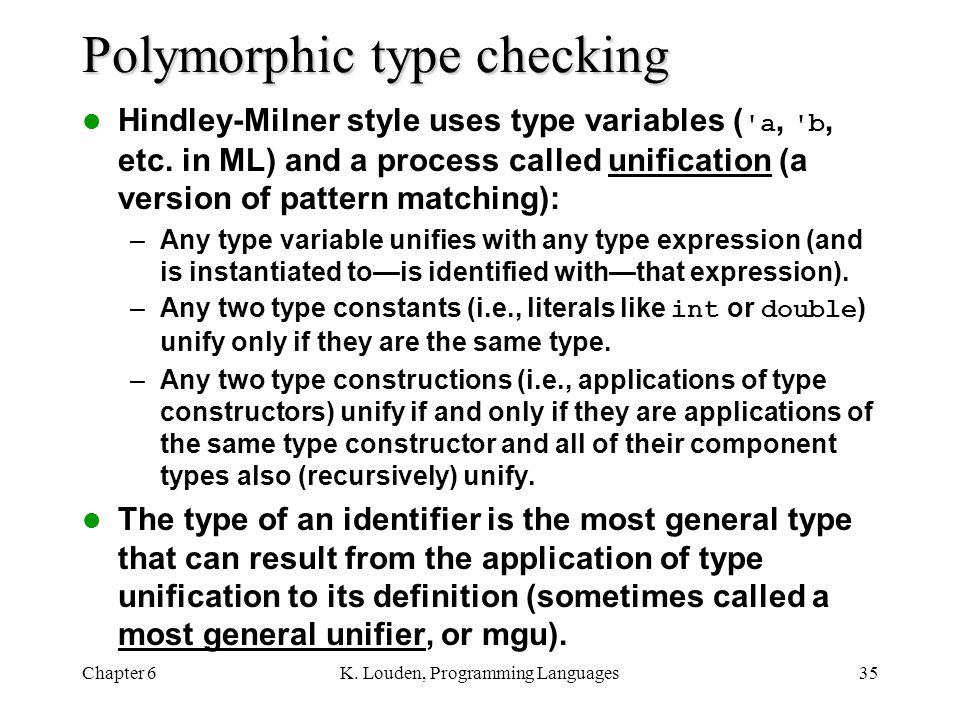 Polymorphic type checking