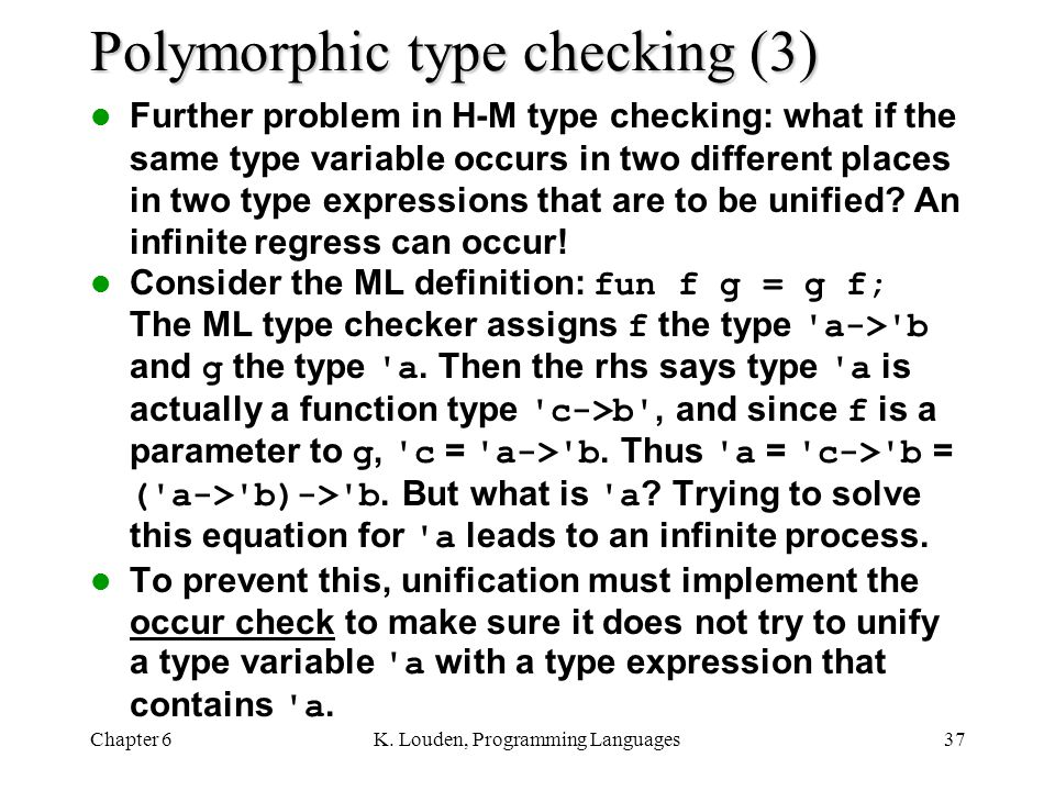 Polymorphic type checking (3)