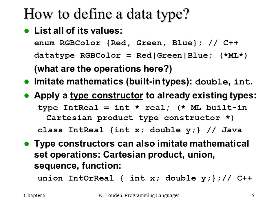 How to define a data type