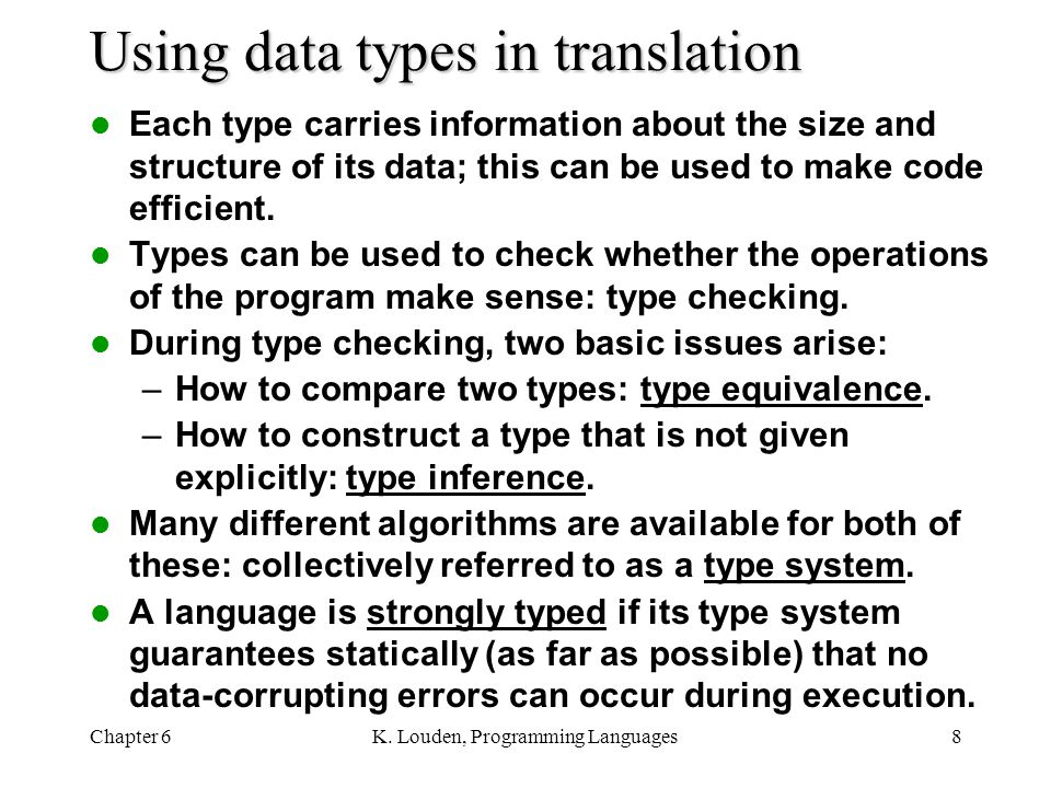 Using data types in translation
