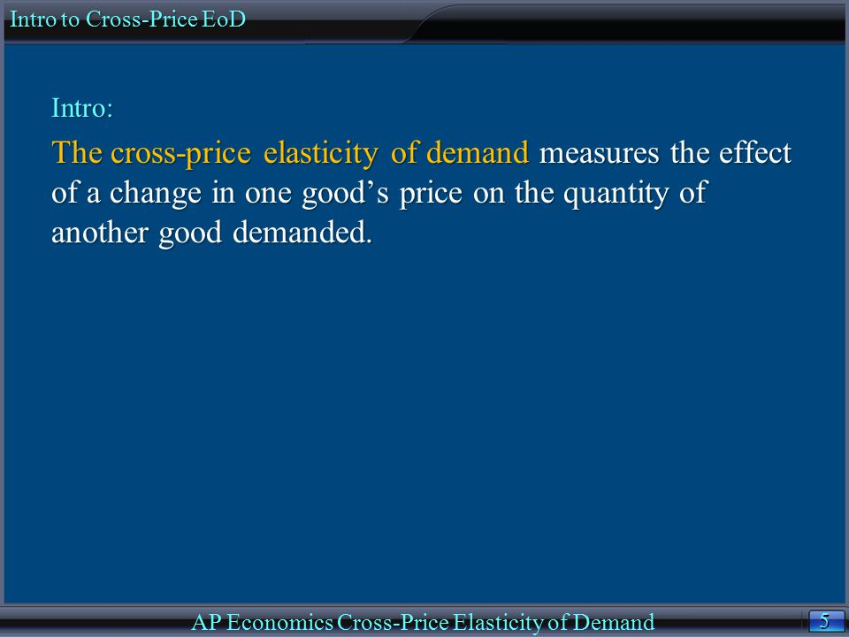 AP Economics Cross-Price Elasticity of Demand