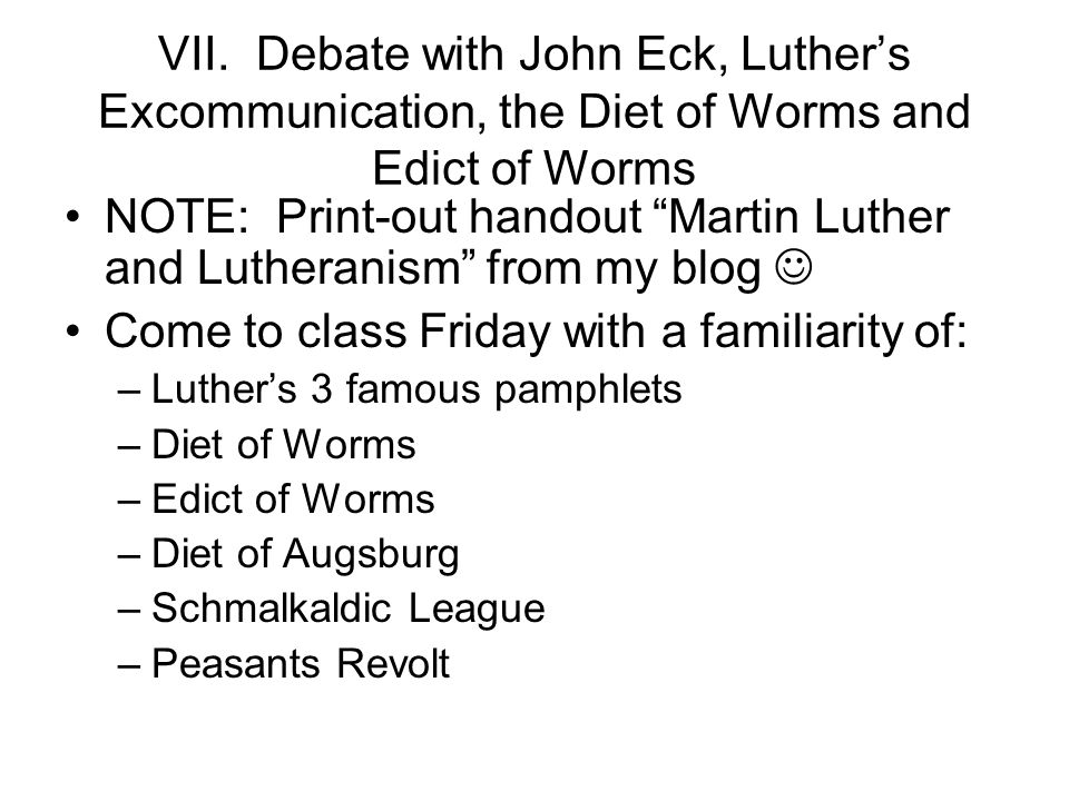NOTE: Print-out handout Martin Luther and Lutheranism from my blog 