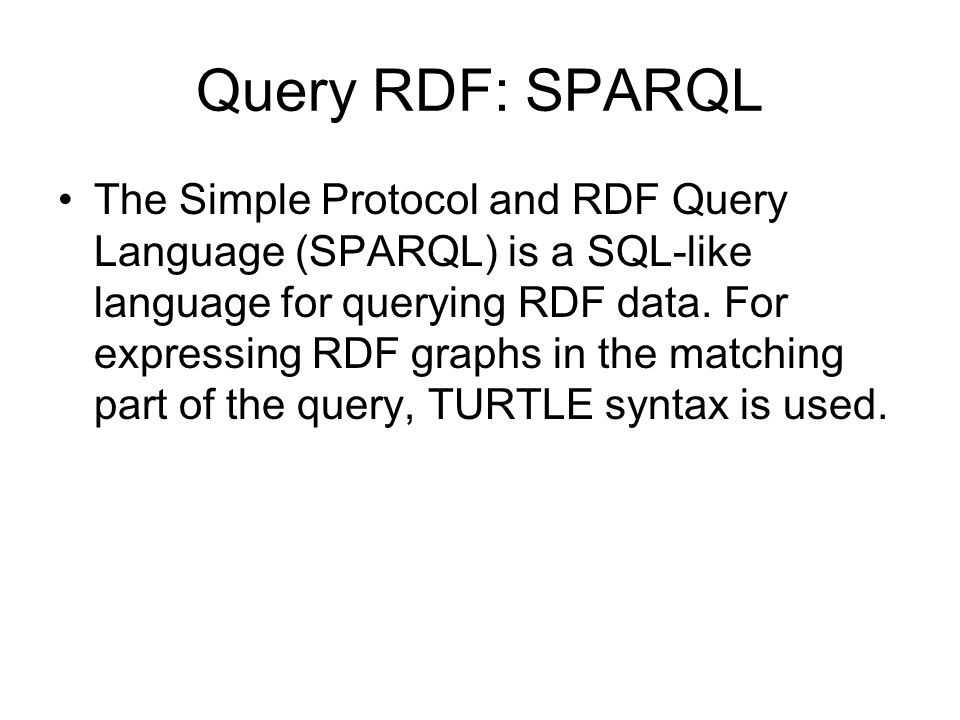 Query RDF: SPARQL
