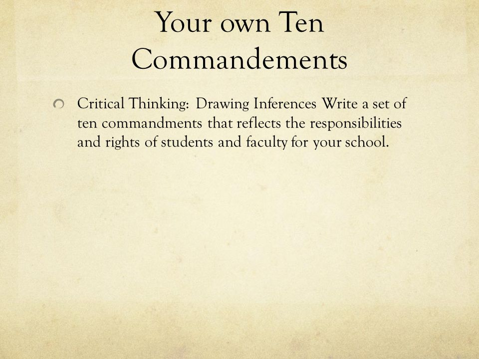 Your own Ten Commandements