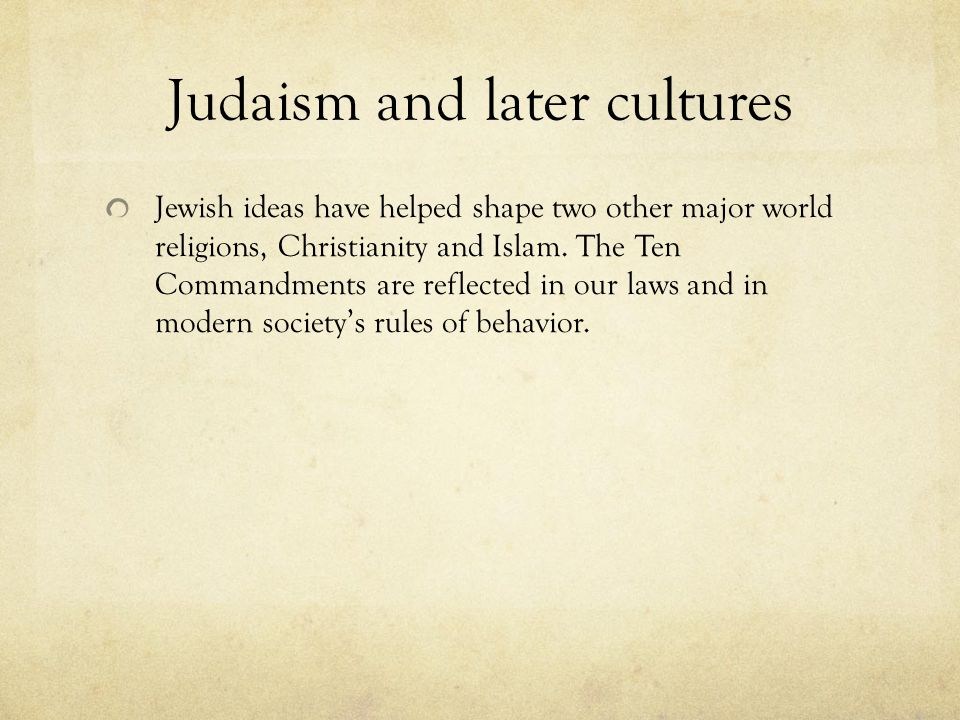 Judaism and later cultures