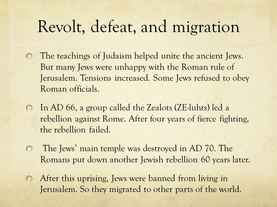 Revolt, defeat, and migration