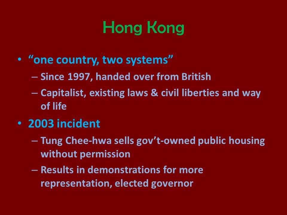 Hong Kong one country, two systems 2003 incident