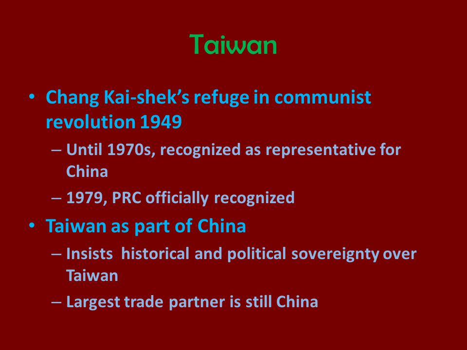 Taiwan Chang Kai-shek's refuge in communist revolution 1949