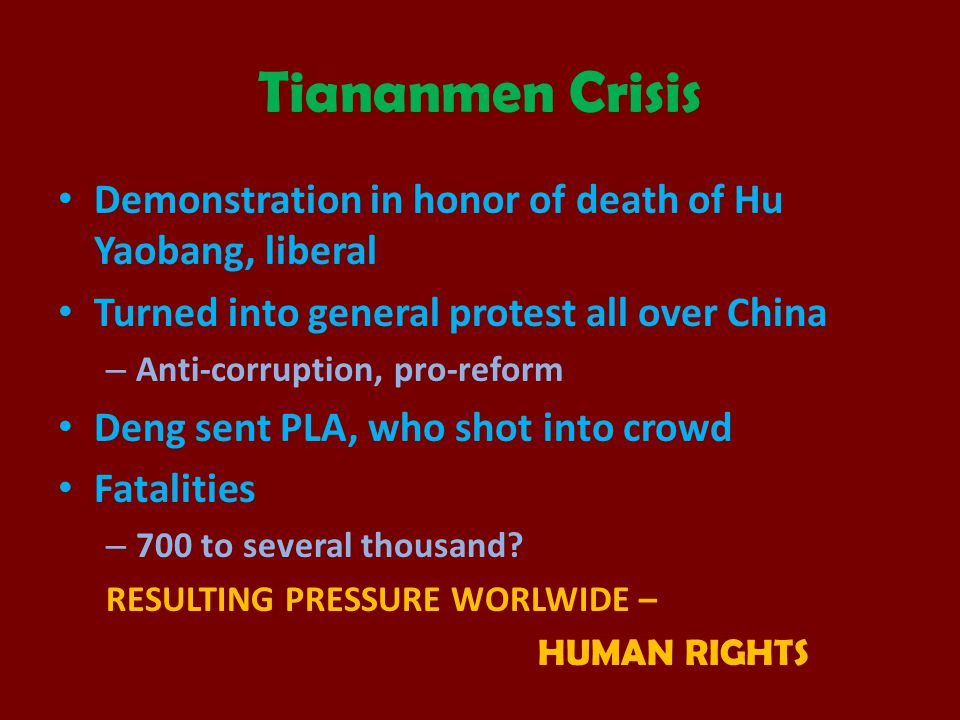 Tiananmen Crisis Demonstration in honor of death of Hu Yaobang, liberal. Turned into general protest all over China.