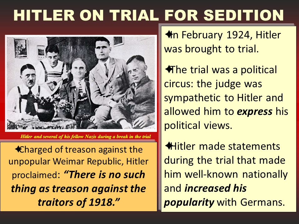 HITLER ON TRIAL FOR SEDITION
