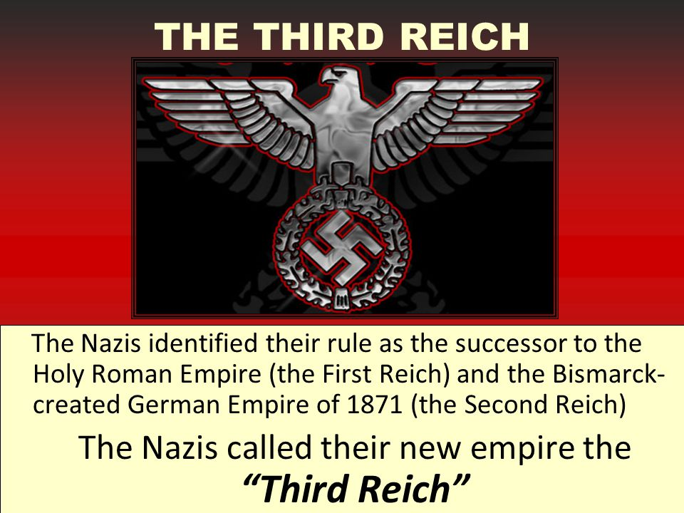 The Nazis called their new empire the Third Reich
