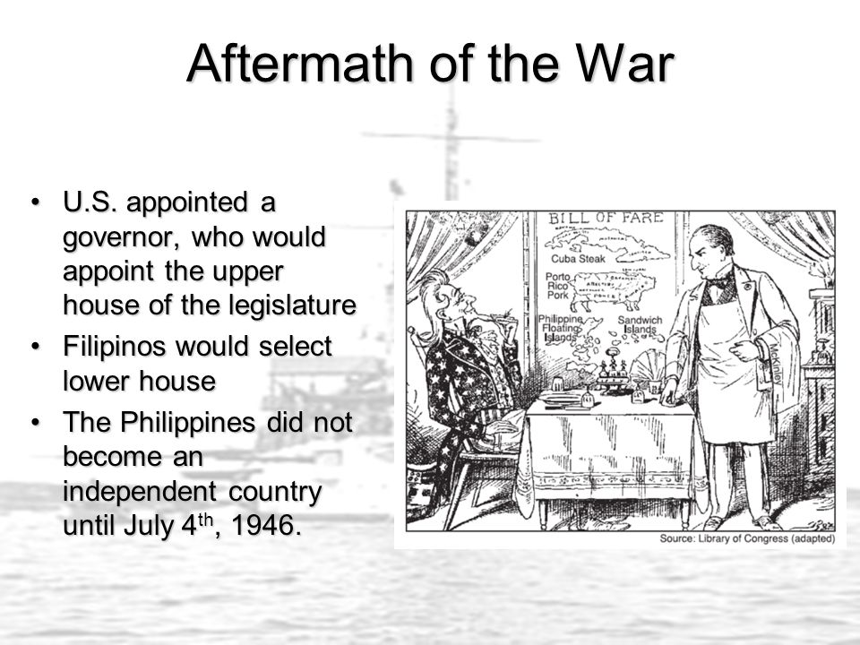 Aftermath of the War U.S. appointed a governor, who would appoint the upper house of the legislature.