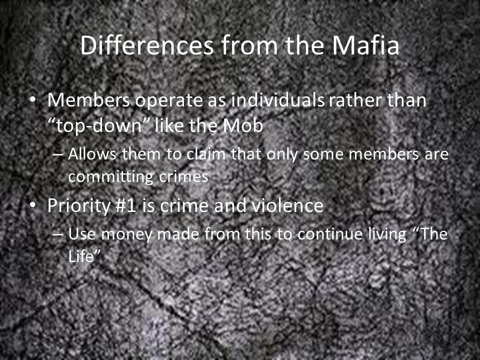 Differences from the Mafia