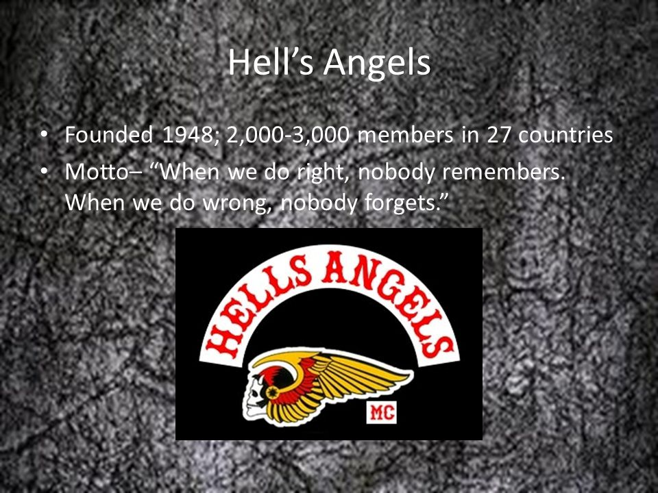Hell's Angels Founded 1948; 2,000-3,000 members in 27 countries