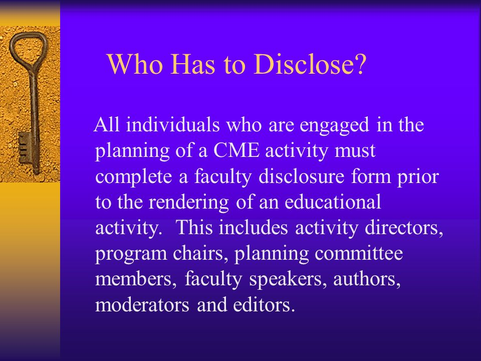 Who Has to Disclose