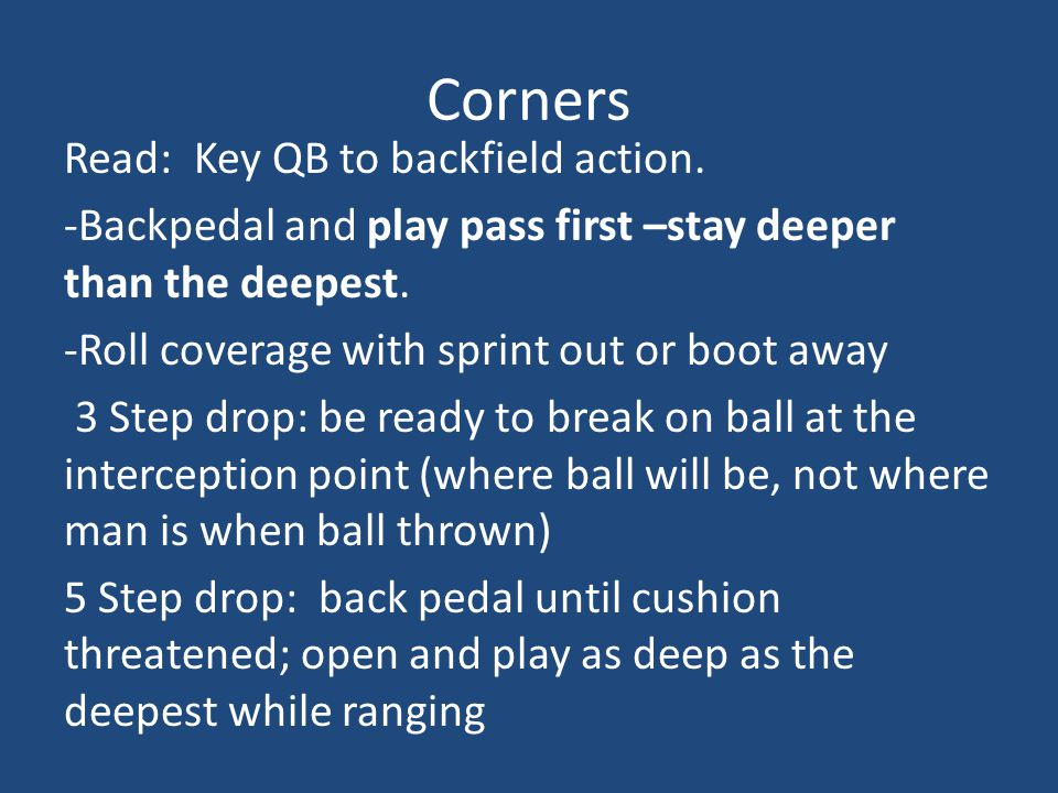 Corners Read: Key QB to backfield action.