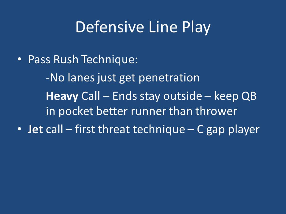 Defensive Line Play Pass Rush Technique: