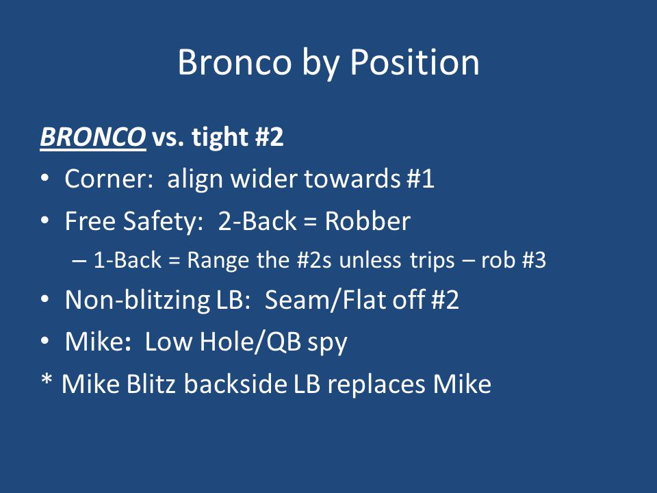Bronco by Position BRONCO vs. tight #2 Corner: align wider towards #1
