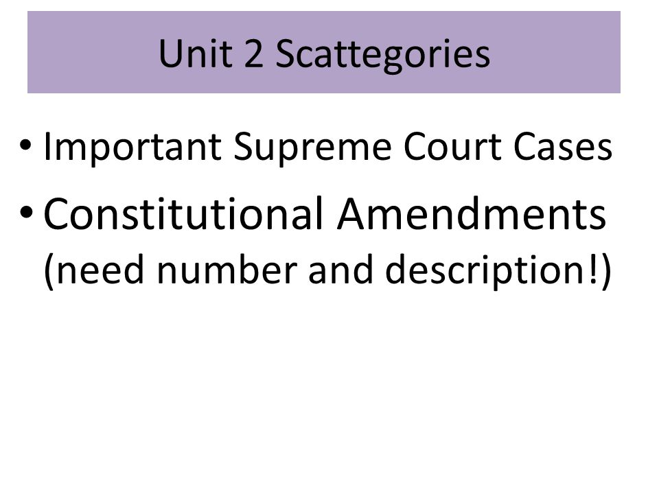 Constitutional Amendments (need number and description!)