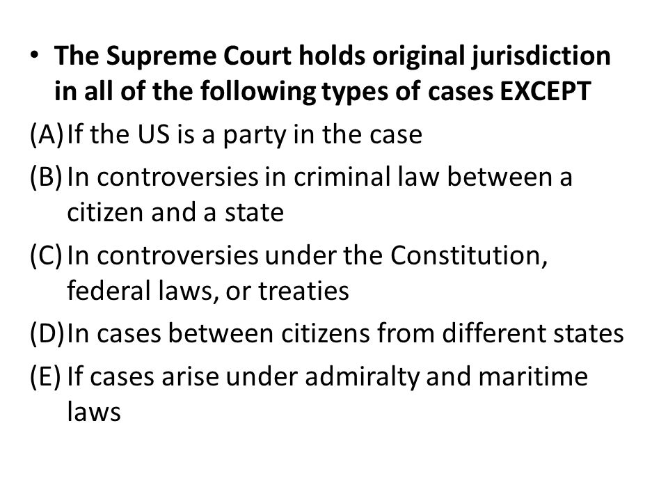 The Supreme Court holds original jurisdiction in all of the following types of cases EXCEPT